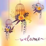 Cartão floral da caligrafia ilustração royalty free
