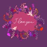 Cartão floral da garatuja bonito do vetor Foto de Stock