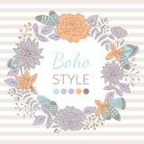 Cartão floral da grinalda do vetor Fotografia de Stock Royalty Free