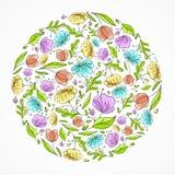Cartão floral da tração da mão Fotos de Stock