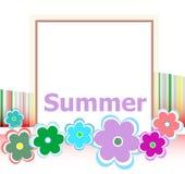 Cartão floral do convite do verão bonito férias de verão, flores e linhas abstratas ajustadas Imagens de Stock Royalty Free