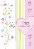 Cartão floral do feliz aniversario ilustração royalty free
