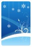 Cartão floral do inverno azul ilustração stock