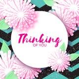 Cartão floral do origâmi bonito com quadro do círculo para o texto Fotos de Stock