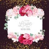 Cartão floral do quadrado do projeto do vetor com fundo dourado da obscuridade do brilho Fotos de Stock