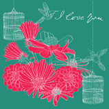 Cartão floral do Valentim do feriado Fotos de Stock Royalty Free
