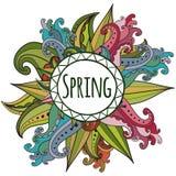 Cartão floral do vetor com flores e quadro coloridos Imagens de Stock