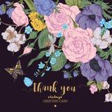 Cartão floral do vetor do vintage com rosas, anêmonas e borboleta Fotos de Stock Royalty Free