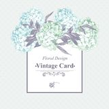 Cartão floral do vintage azul delicado Fotos de Stock Royalty Free