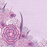 Cartão floral do vintage com flores violetas ilustração do vetor