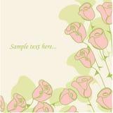 Cartão floral do vintage com rosas. ilustração stock