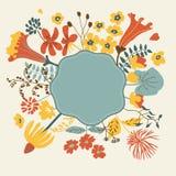 Cartão floral dos desenhos animados Fotografia de Stock