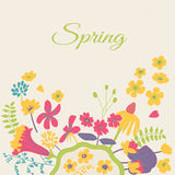 Cartão floral dos desenhos animados da mola Fotografia de Stock Royalty Free