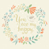 Cartão floral feliz Imagens de Stock