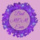 Cartão floral feliz do dia de mãe com as flores impressionantes no estilo da aquarela Molde do cartão da mola Elemento para a cri ilustração royalty free