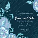 Cartão floral simples no estilo azul do mandi fotos de stock royalty free