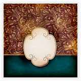 Cartão floral sujo com etiqueta ilustração stock