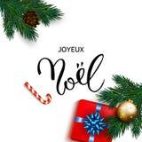 Cartão francês de Joyeux Noel do Feliz Natal com presentes da caixa Fotografia de Stock