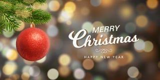 Cartão geeting do Natal e do ano novo com árvore de Natal foto de stock royalty free