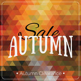 Cartão geométrico colorido do fundo com logotipo da venda do outono Bandeira geométrica do afastamento do outono do vintage Foto de Stock Royalty Free