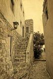 Cartão grego tradicional do vintage da rua Fotos de Stock