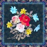 Cartão, guardanapo ou fronha de almofada bonito com o ramalhete de flores de jardinagem - rosas, narcisos amarelos e cosmos ilustração stock