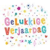Cartão holandês do feliz aniversario do verjaardag de Gelukkige Fotografia de Stock Royalty Free
