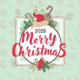 Cartão ilustrado Natal do feriado Foto de Stock Royalty Free