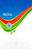 Cartão indiano do dia da república com cores e roda da bandeira indiana Imagens de Stock