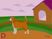 Cartão instantâneo do alfabeto animal, D para o cão Imagem de Stock Royalty Free