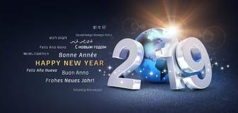 Cartão internacional do ano novo feliz 2019 ilustração stock
