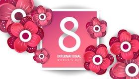 Cartão internacional do dia do ` s das mulheres ilustração stock