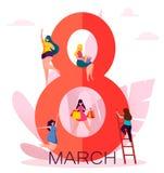 Cartão internacional do dia do ` s das mulheres ilustração do vetor