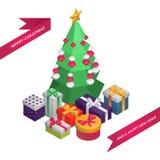 Cartão isométrico do Natal e do ano novo: Árvore de Natal, decoração, presentes ilustração EPS10 do vetor 3d ilustração royalty free