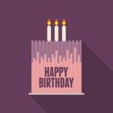 Cartão liso do bolo de aniversário Imagens de Stock Royalty Free