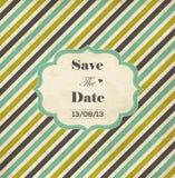 Cartão listrado do convite do casamento com quadro Fotografia de Stock Royalty Free