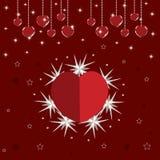 Cartão lustroso do amor do Valentim Fotografia de Stock