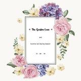 Cartão luxuoso com flores do vintage e etiqueta branca do retângulo Fotos de Stock