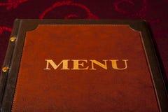 Cartão luxuoso do menu na tampa de couro. Fotos de Stock Royalty Free