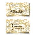 Cartão luxuoso elegante do molde no fundo do mármore do ouro ilustração do vetor