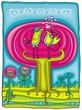 Cartão mágico do jardim do dia do Valentim Imagem de Stock Royalty Free
