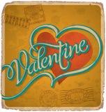 cartão Mão-indicado por letras dos Valentim do vintage Imagem de Stock