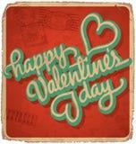 cartão Mão-indicado por letras dos Valentim do vintage Fotos de Stock Royalty Free