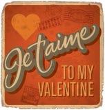 cartão Mão-indicado por letras dos Valentim do vintage Foto de Stock