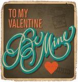 cartão Mão-indicado por letras dos Valentim do vintage Fotografia de Stock
