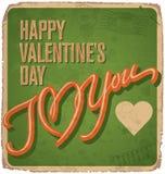 cartão Mão-indicado por letras dos Valentim do vintage Imagens de Stock Royalty Free