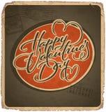 cartão Mão-indicado por letras dos Valentim do vintage Foto de Stock Royalty Free