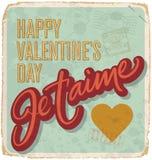 cartão Mão-indicado por letras dos Valentim do vintage Fotografia de Stock Royalty Free
