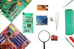 Cartão-matriz do computador, diagnósticos e reparo, fixações foto de stock