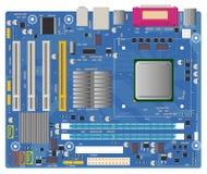 Cartão-matriz do computador no fundo branco Placa de circuito eletrônico da microplaqueta do PC com ilustração do vetor do proces Imagens de Stock